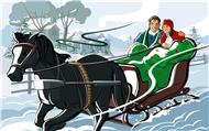 Новогодние открытки. Небольшая новогодняя открытка, сделанная в русском стиле. Здесь на санях, запряжённых чёрной  красавицей-лошадкой едет пара влюблённых. Наверняка они спешат домой, чтобы не пропустить встречу Нового года и попрощаться с годом уходящим. Эта новогодняя открытка станет замечательным дополнением к Вашему новогоднему поздравлению.