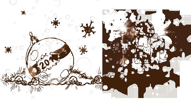 Новогодние открытки. Оригинальная новогодняя открытка, которая как будто нарисована обычным чёрным карандашом рукой профессионала. Новогодняя открытка оригинальна не только тем, как она сделана, но и содержанием. На фоне ёлочек дедушка Мороз с мешком подарков и волшебным посохом, который сияет от лампочек, которые тянутся к большой ёлочной игрушке.