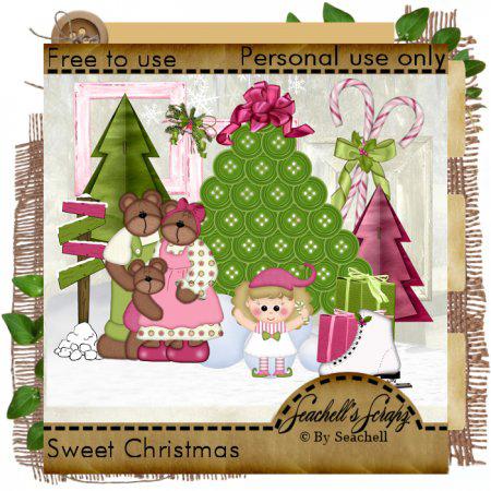 Новогодние открытки. Креативная рождественская открытка с пожеланиями Sweet Christmas! На этой рождественской открытке, мы видим украшенную к Рождеству ёлку из зелёных пуговиц с шёлковым бантом на верхушке. Здесь есть и конфеты в форме тросточек, и семейство медвежат, которые готовятся встретить Рождество, и даже долгожданные коньки, которые получит в подарок на Рождество эта маленькая девочка. Рождественская открытка Sweet Christmas – отличный способ показать Вашим близким, что Вы думаете о них.