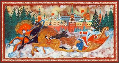 Новогодние открытки. Замечательная новогодняя открытка с видами столицы. А на фоне Москвы на своих волшебных санях, запряжённых тройкой разноцветных лошадей, мчится дедушка Мороз. Он везёт подарки московским детишкам и поздравляет всех с наступающим Новым годом. Вы тоже можете поздравить своих друзей с наступающим – для этого нужно просто отправить новогоднюю открытку всем, кто Вам дорог.