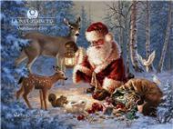 Новогодние открытки. Небольшая новогодняя открытка, которая вполне подойдёт в качестве новогодней аватарки. В вечернем лесу приземлились сани дедушки Мороза. Он решил дать возможность своим оленям передохнуть немножко, а сам кормит лесных обитателей гостинцами и сладостями. Ведь зверушки тоже любят Новый год, а дед Мороз несёт праздник всем, кто в нём нуждается. Замечательная новогодняя открытка, которая понравится абсолютно всем.