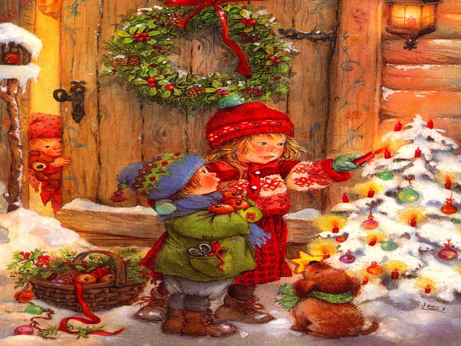 Новогодние открытки. Большая и яркая новогодняя открытка не оставит Вас равнодушным. Если Вы хотите поздравить близких людей с праздником, лучший способ – отправить новогоднюю открытку. На ней изображены двое детей, которые вышли из дома и зажигают свечи на празднично украшенной ёлке. А маленький мохнатый щенок держит в зубах главное украшение – золотую звезду. Самая младшая малышка не решается выйти из дома, но с интересом наблюдает за братом и сестрой из-за приоткрытой двери.