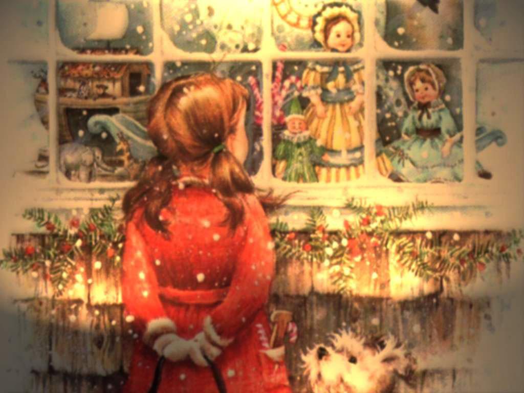Новогодние открытки. Ностальгическая новогодняя открытка, которая как бы возвращает нас в детство – к той самой витрине с игрушками, у которой мы могли простаивать часами. Вот и здесь маленькая девочка застыла у магазина, разглядывая вожделенную куклу, а белый пёс преданно смотрит на свою маленькую хозяйку, ожидая, когда они смогут продолжить прогулку.