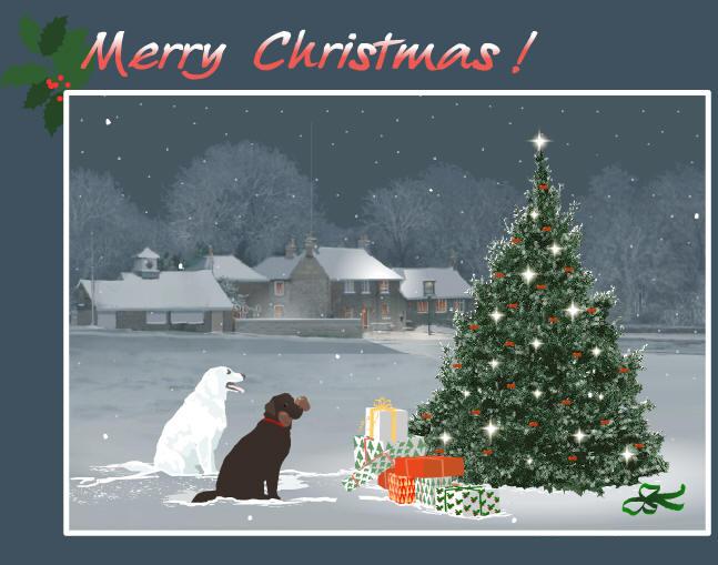 Новогодние открытки. Просто волшебная рождественская открытка на сером фоне. На переднем плане мы видим шикарно-наряженную к Рождеству ёлку, у подножия которой лежит гора подарков. А перед ней сидят две собаки и ждут своих друзей, чтобы встретить Рождество. Вдалеке раскинулся небольшой городок с заснеженными деревьями и звёздным небом. Отличная рождественская открытка для всех, кто ценит этот праздник и встречает Рождество.