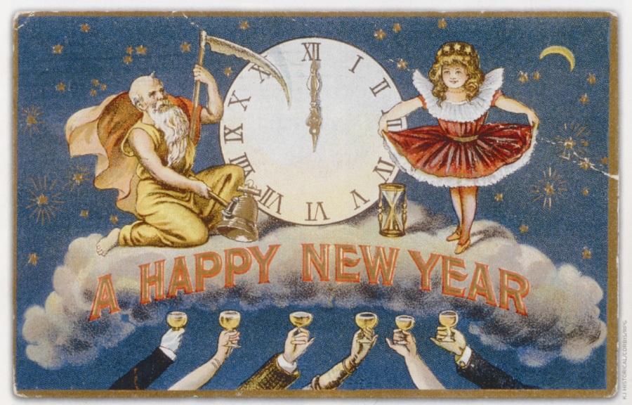 Новогодние открытки. Потрясающая новогодняя открытка большого размера, на которой изображены бог времени Сатурн и рождественский ангелок на стыке старого и Нового года. А снизу к ним тянутся бокалы с шампанским – это люди радуются наступлению Нового года. Отличная новогодняя открытка поможет Вам поздравить с наступающим Новым годом и близких, и коллег. Им обязательно понравится этот знак внимания с Вашей стороны.