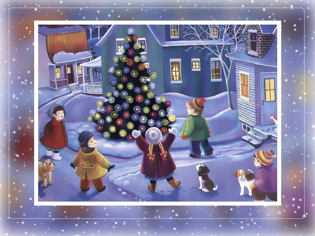Новогодние открытки. Большая новогодняя открытка, которая притягивает взгляд из-за ярких красок и интересного сюжета. В небольшом городке на главной площади поставили красивую ёлку и нарядили её игрушками. И вся местная детвора собирается вокруг ёлки, чтобы полюбоваться на это чудо. Даже собаки и кошки собрались возле ёлки – настолько она хороша. Если Вы хотите порадовать родных и близких, отправьте им эту новогоднюю открытку, чтобы поздравить их с наступающими праздниками.