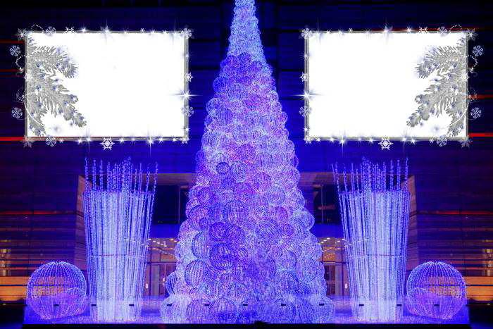 Новогодние рамки. Восхитительная новогодняя рамка, рассчитанная на два горизонтальных портрета или фотографии. Новогодняя рамка выполнена в фиолетовых тонах с очень креативной ёлочкой, которая вызывает желание придумать что-нибудь оригинальное в эти новогодние праздники. Новогодняя рамка станет приятным сюрпризом и дополнением к новогодним подаркам. Вставить фото в новогоднюю рамку Вам поможет фотошоп.