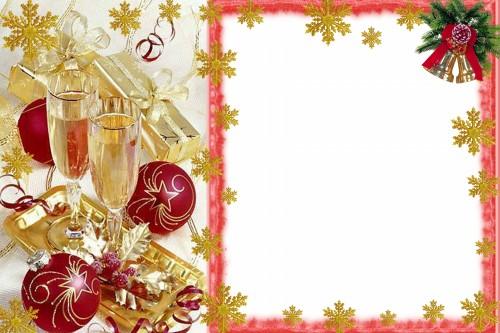 Новогодние рамки. Небольшая новогодняя рамка для фото – отличный подарок на Новый год, который Вы можете сделать и коллегам, и друзьям. Новогодняя рамка содержит в себе новогодние элементы – еловые ветки с золотыми колокольчиками, красные шары для ёлки с золотым узором, красиво упакованные новогодние подарки и два бокала с ледяным шампанским на золотом подносе. Это прекрасная новогодняя рамка для взрослых  портретов.