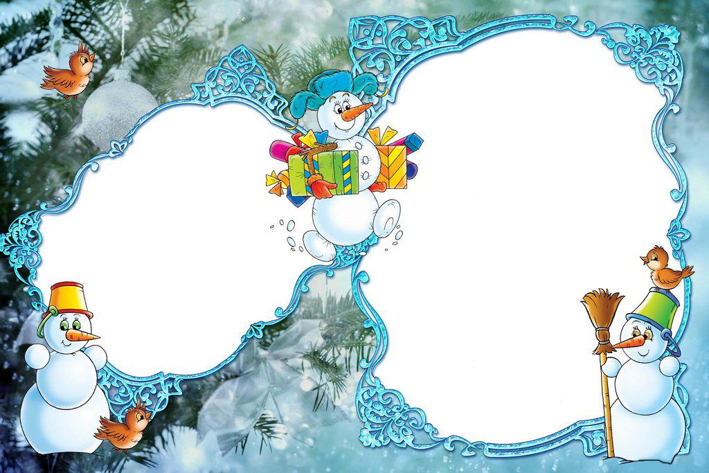 Новогодние рамки. Двойная новогодняя рамка большого размера для детских фотографий и семейных портретов. Новогодняя рамка сделана на фоне заснеженных еловых веток, украшенных белоснежным шёлковым бантом и будто сахарными елочными шарами. Сами новогодние рамки для фото обрамляют голубые витиеватые узоры.
