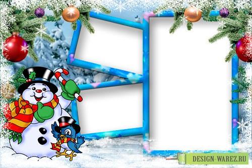 Новогодние рамки. Тройная новогодняя рамка для детских фотографий. Эта новогодняя рамка рассчитана на три фотографии. Две горизонтальных расположены друг над другом сбоку от вертикальной и украшены зимним узором, ёлочными игрушками и еловыми ветками. Замечательная детская новогодняя рамка, в которую можно вставить и любимые семейные портреты.