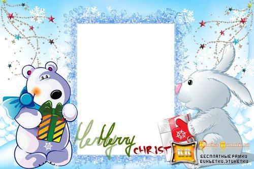 Новогодние рамки. Хорошенькая рождественская рамка для детских фотографий. Рождественские рамки часто делают в классическом стиле. Но эта детская рождественская рамка универсальна, и если убрать надпись «Merry Christmas», то это будет простая детская рамка для фото, но, при этом, очень милая и подходящая на каждый день.