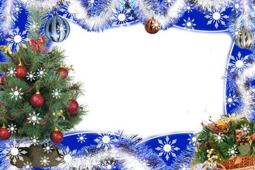 Новогодние рамки. Классическая новогодняя рамка для фото на синем фоне с красивыми морозными узорами, снежинками, гирляндами и еловыми ветками. Новогодняя рамка для горизонтальных фотографий в классическом стиле подойдёт для любых портретов: детских, семейных, групповых  и взрослых. Если Вы хотите создать себе или своим друзьям новогоднее настроение, классическая новогодняя рамка для фото поможет Вам.