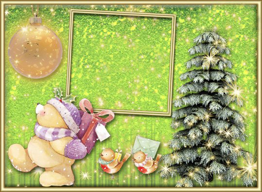 Новогодние рамки. Потрясающе нежная новогодняя рамка для детских фотографий на зеленовато-жёлтом фоне с красивыми блёстками. Детская новогодняя рамка украшена замечательной новогодней ёлочкой, будто покрытой инеем и блёстками, вместо солнца сияет ёлочная игрушка, а милый медвежонок и птички несут Вам поздравления с Новым годом и подарки.