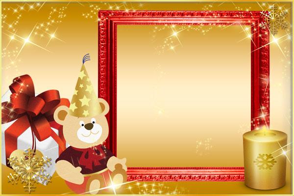 Новогодние рамки. Красивая новогодняя рамка для детских фото на золотом градиентном фоне. По всей рамке разбросаны горсти звёздочек разных размеров, а сама новогодняя рамка красного цвета для крупных лицевых портретов. С правой стороны рамки горит золотая свеча, а слева среди красиво упакованных подарков сидит забавный медвежонок в праздничном колпаке.