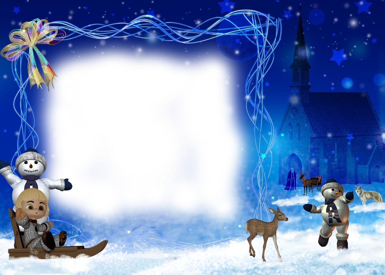 Новогодние рамки. Огромная новогодняя рамка для детских фотографий на тёмно-синем фоне ночного неба. Сама рамка занимает совсем немного места, что даёт возможность вставить более крупную фотографию. Детская новогодняя рамка сделана с интересным сюжетом. Здесь снеговики играют в снежки и катают детей на санках, звери бродят, не боясь людей, а позади этой идиллии виднеется старое аббатство.