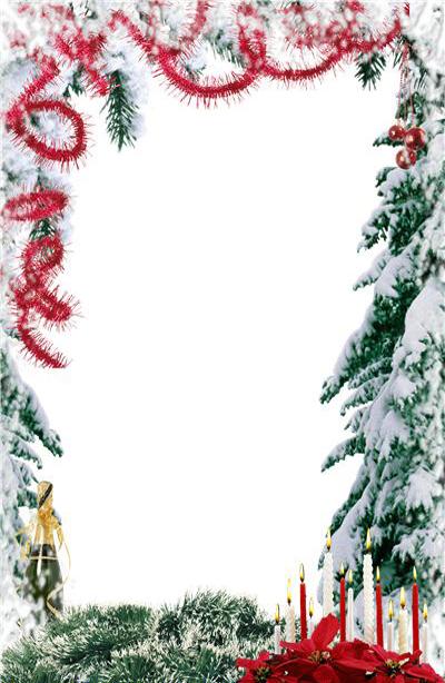 Новогодние рамки. Простая классическая новогодняя рамка для вертикальных фотографий. За счёт незатейливого дизайна, в котором использованы лишь еловые ветви, гирлянды, свечи и бутылка шампанского, эта новогодняя рамка становится универсальной. Вы можете вставить в новогоднюю рамку портрет любимого человека, любимой девушки, и любую фотографию, на которую Вы хотите любоваться.