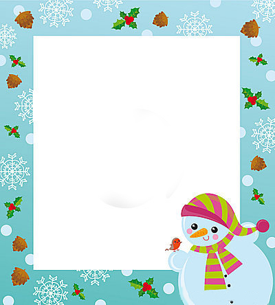 Новогодние рамки. Хорошенькая детская новогодняя рамка для вертикальных фотографий и крупных лицевых портретов ребёнка на нежно-голубом фоне. Детская новогодняя рамка украшена еловыми шишечками, ягодками, бликами и белыми снежинками. Новогодняя рамка для детских фотографий с миленьким снеговиком, который держит в своей снежной лапке маленькую птичку, понравится Вам и замечательно дополнит детский  портрет.