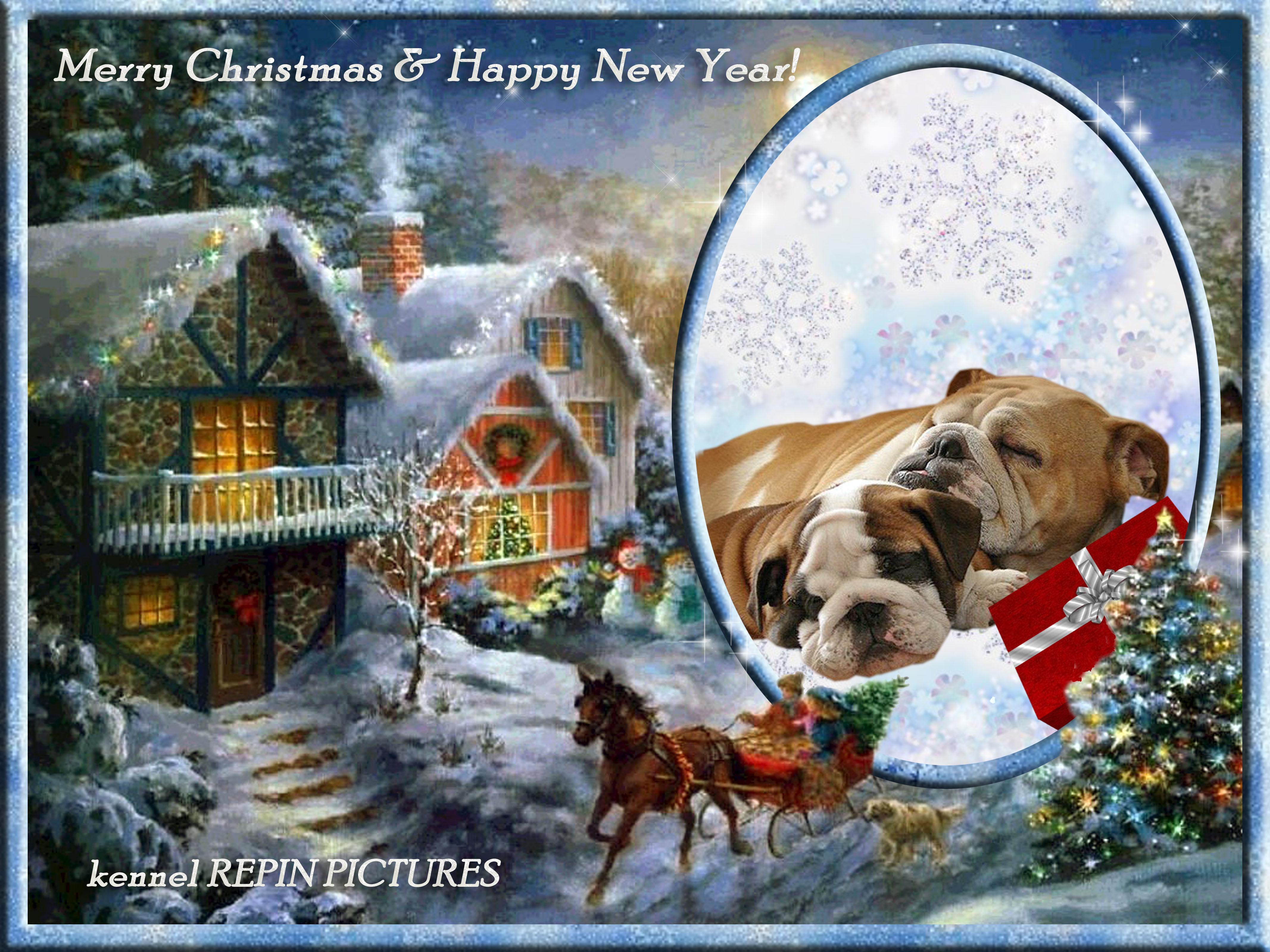 Новогодние рамки. Классическая рождественская рамка для фотографий  высокого качества. Здесь мы видим прекрасную рождественскую картину – заснеженные, будто пряничные домики, которые сияют рождественскими огнями. А во дворе стоит великолепная новогодняя ёлка, мимо которой мчится повозка с детьми, которые везут домой собственноручно срубленную ёлочку. Рядом с повозкой бежит рыжая собака, шерсть которой развивается от быстрого бега. Чудесная рождественская рамка для любимых портретов.