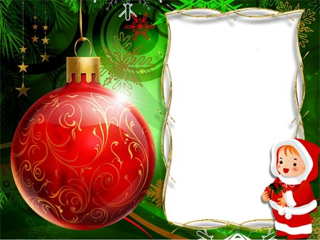 Новогодние рамки. Роскошная новогодняя рамка для детских фотографий на ярко-зелёном градиентном фоне с различными принтами и украшениями. Детская новогодняя рамка должна радовать глаз, и эта новогодняя рамка справляется с поставленной задачей на ура. Огромный красный шарик для ёлки с золотыми узорами украшает новогоднюю рамку, а нарисованный малыш в костюмчике деда Мороза дополняет новогодний дух рамки.