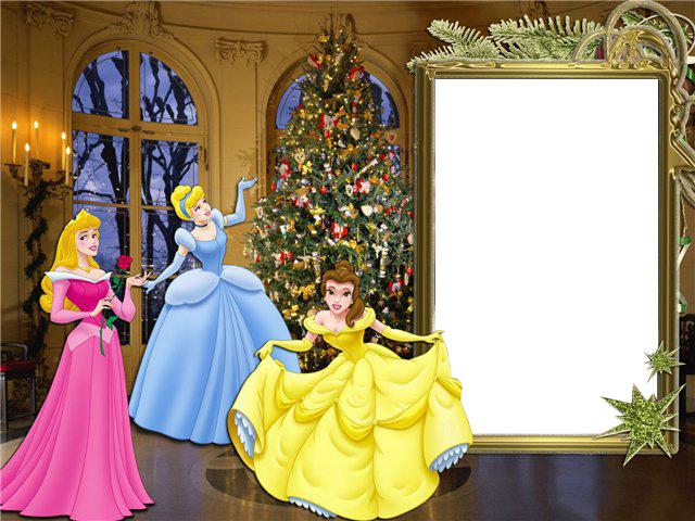 Новогодние рамки. Замечательная новогодняя рамка, выполненная в золотых тонах. Новогодняя рамка станет отличным обрамлением для фотографии Вашего ребёнка. Новогодняя рамка предназначена для девочек, поскольку главным украшением рамки является не только прекрасный интерьер с великолепной новогодней ёлкой, а главные героини диснеевских мультиков – Белоснежка, Золушка и Бель из мультфильма «Красавица и чудовище».