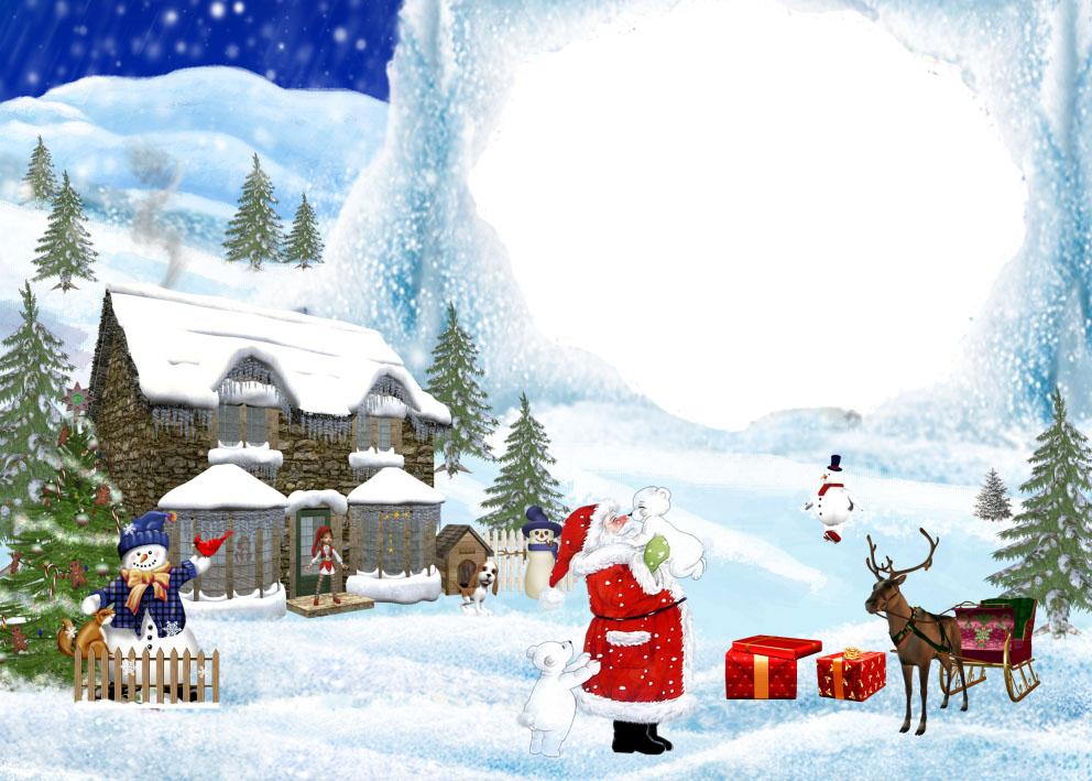 Новогодние рамки. Восхитительная новогодняя рамка для портрета Вашего ребёнка. На фоне зимнего горного пейзажа расположился небольшой домик, в котором живёт дедушка Мороз. Каждый год 31 декабря он собирает все подарки и отвозит их детишкам по всему свету. И вот он в очередной раз собирается в дальнюю дорогу. Отличная новогодняя рамка, которая Вам обязательно понравится.