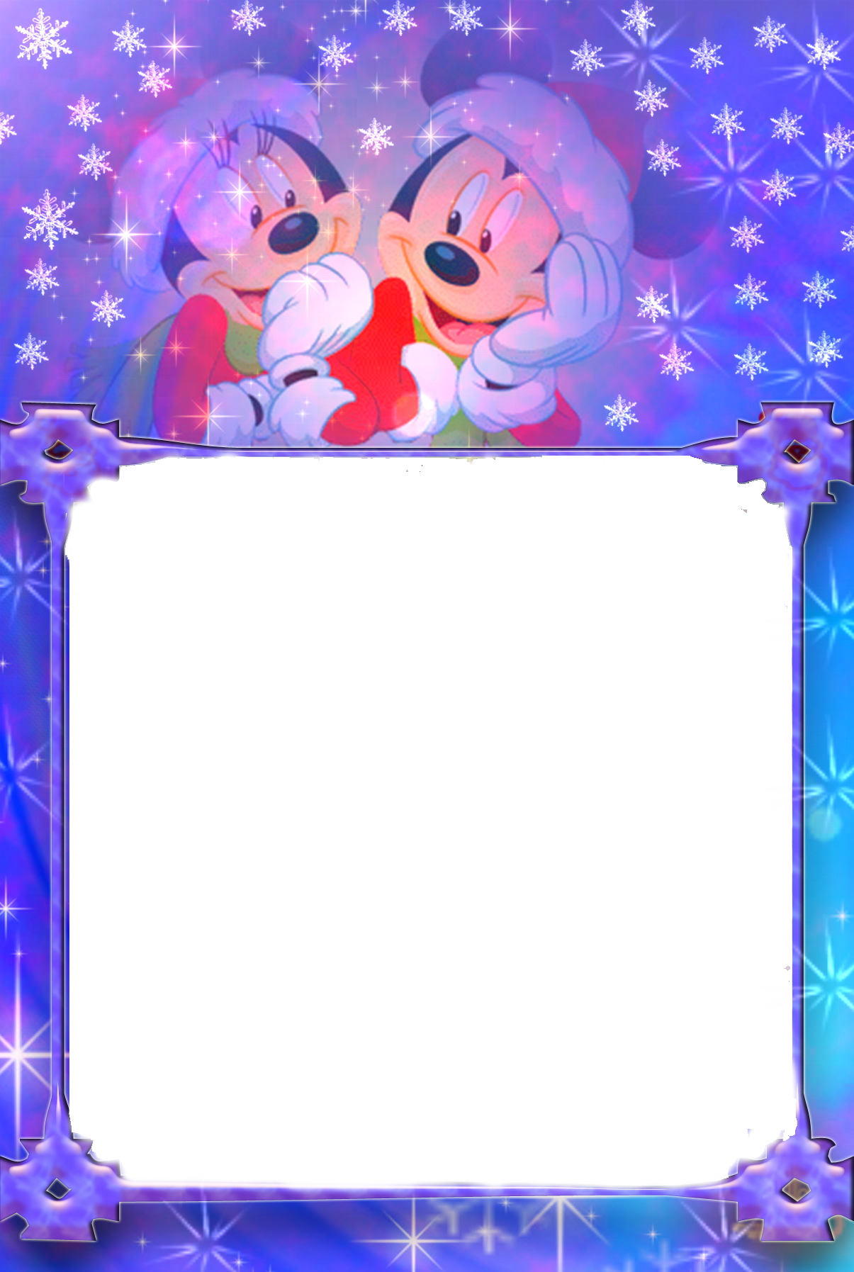 Новогодние рамки. Огромная вертикальная новогодняя рамка для одной детской фотографии. Новогодняя рамка сделана так, что лучше всего поставить в неё квадратное фото или крупный портрет ребёнка. Сама новогодняя рамка сделана на сине-фиолетовом фоне с различными снежинками. А сверху глядят друг на друга два мышонка.