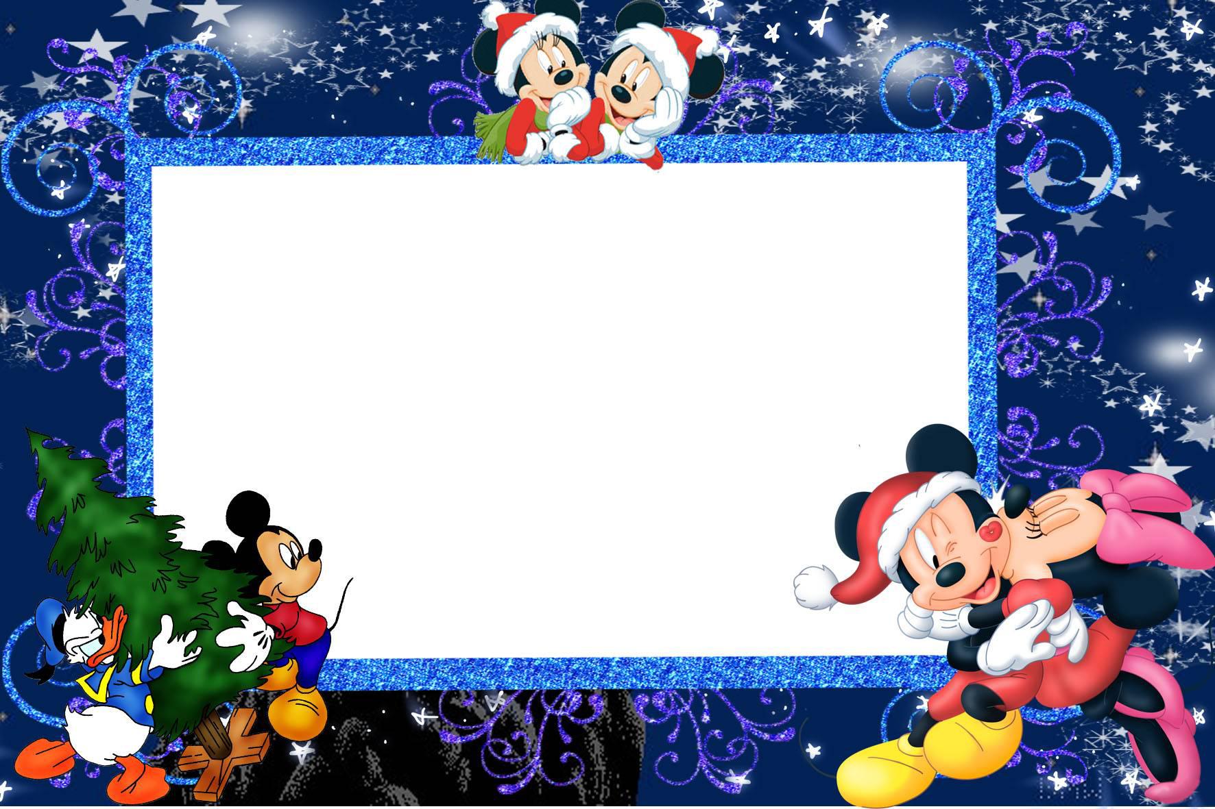 Новогодние рамки. Детская новогодняя рамка большого размера на классическом тёмно-синем фоне, украшенном разноцветными блестящими завитушками и звёздочками. Новогодняя рамка для детских портретов отлично украсит детские фотографии и станет оригинальным подарком для всей семьи. Новогодняя рамка может быть использована и в качестве оформления общей семейной фотографии, а замечательные Микки-Маусы будут поднимать Вам настроение каждый раз при взгляде на новогоднюю рамку.