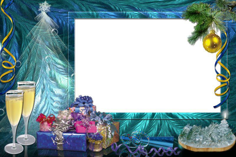 Новогодние рамки. Восхитительная новогодняя рамка для фото в бирюзовых и синих тонах. Простота и изящность новогодней рамки делают её абсолютно универсальной. Вы можете вставить в новогоднюю рамку детские и взрослые горизонтальные фотографии. Новогодняя рамка с оригинальным оформлением и неожиданными решениями ещё долго не надоест Вам. Новогодняя ёлка сделана из прозрачного тюля, гора разноцветных подарков и серпантин делают новогоднюю рамку ещё более яркой и интересной.