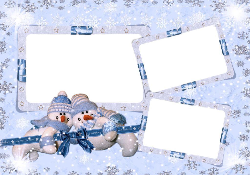 Новогодние рамки. Нежная новогодняя рамка для трёх детских фото, выполненная в светло-голубых тонах. Новогодняя рамка большого размера идеально подойдёт для качественного профессионального оформления фотографий и для всех, кто с фотошопом на «ты». Фон рамки украшен разномастными снежинками. Прямо по центру картинки – три новогодние рамки для детских и семейных фотографий. А под ними – два симпатичных снеговика.