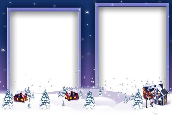 Новогодние рамки. Новогодняя рамка для двух вертикальных фотографий идеально подойдёт для оформления детских портретов. Новогодние рамки расположены чуть симметрично, и как бы вырастают из заснеженного пейзажа. Оригинальная новогодняя рамка для нескольких фото станет отличным обрамлением для Ваших любимых фотографий.