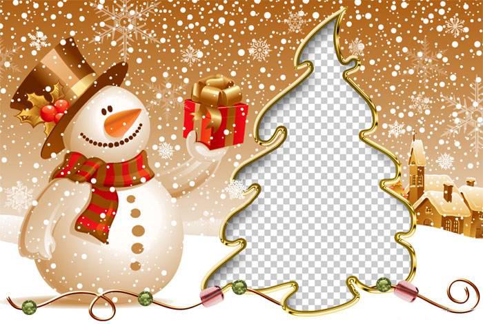 Новогодние рамки. Потрясающая новогодняя рамка для детских фото на золотисто-рыжем фоне. Новогодняя рамка сделана в оригинальной форме. Новогодняя рамка не квадратная и не прямоугольная, а в виде ёлочки. Рядом с ёлкой стоит красивый снеговичок и протягивает подарок. Замечательная новогодняя рамка для всех, кто любит делать оригинальные вещи своими руками.
