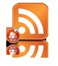 Новогодняя RSS - классическая оранжевая  иконка RSS  квадратной формы, а рядом лежит небольшой красный ёлочный шар со снежинкой