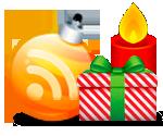 Новогодние RSS - оранжевая  иконка RSS  в виде ёлочного шара рядом с новогодним подарком и свечой