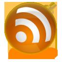 Новогодние RSS - оранжевая  иконка RSS  в виде ёлочного шара