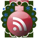 Новогодняя RSS:   бордовый ёлочный шар со знаком RSS   на фоне зелёного цвета с голубыми снежинками
