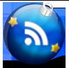 Новогодняя RSS:  синий с золотыми звёздочками  ёлочный шар со знаком RSS