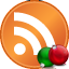 Новогодняя RSS - классическая оранжевая  иконка RSS  круглой  формы, а рядом лежат небольшие зелёный и красный ёлочные шары