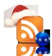 Новогодняя RSS - классическая оранжевая  иконка RSS  квадратной формы в новогоднем колпаке, а рядом лежит небольшой синий ёлочный шар со снежинками