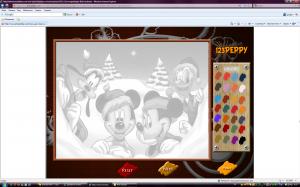 Новогодняя флеш раскраска Микки Маус и его друзья