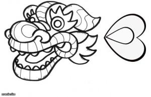 Распечатайте на принтере заготовку-раскраску головы и кончика хвоста дракона