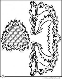 Китайский дракон - марионетка - шаблон