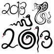 Надпись 2013 в виде змейки