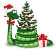 Очаровательная зелёная змейка
