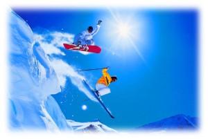 Катайтесь на горных лыжах и сноуборде,