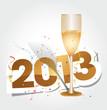 На сером фоне бокал с шампанским и надпись 2013 коричневыми цифрами с белым обрамлением.