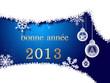На синем фоне белые снежинки, белые шарики и надпись 2013.