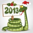 Зелёная змея в красном колпаке держит табличку с надписью 2013.