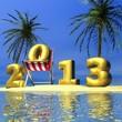 Море, пальмы, голубое небо и надпись 2013.