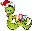 Весёлый зелёный змей в новогоднем колпаке несущий на спине разноцветную надпись 2013.