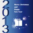 На синей подложке нарисован новогодний подарок и надпись 2013.